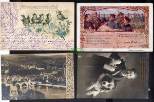 4 Ansichtskarte Aschaffenburg 1900 Studentika Festpostkarte Heidelberg 1902