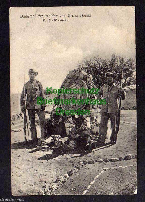 Ansichtskarte DSW Gross Nabas Denkmal der Helden Schutztruppe Soldaten 1912 Kanus