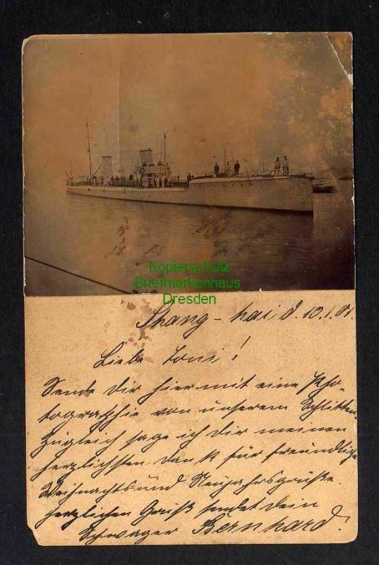 Ansichtskarte Shanghai 1901 Feldpost Aufgeklebtes Foto Schiff Kreuzer