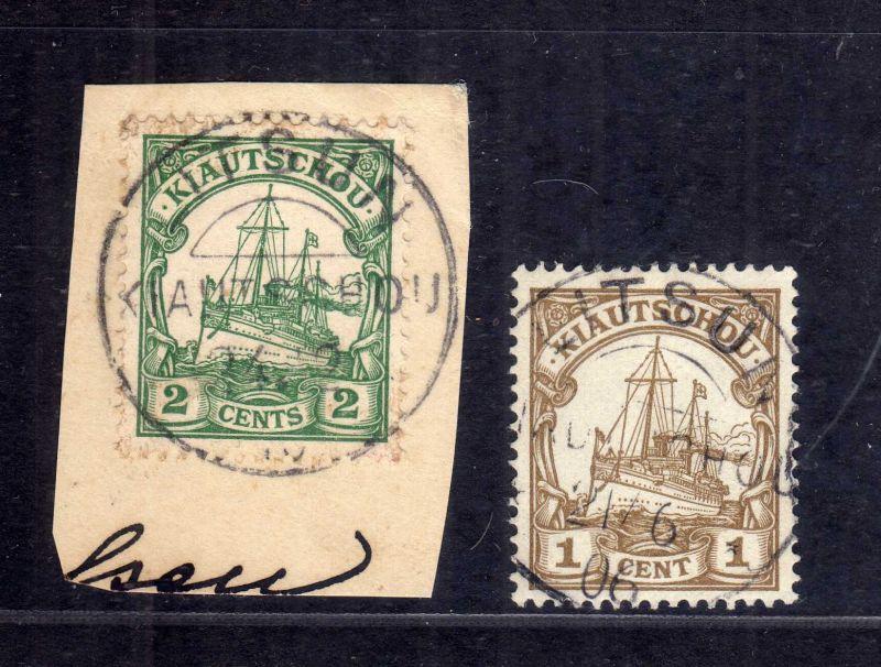 B2579 Kiautschou 29 Luxus Briefstück Litsun 1906 und 28 lose gestempelt