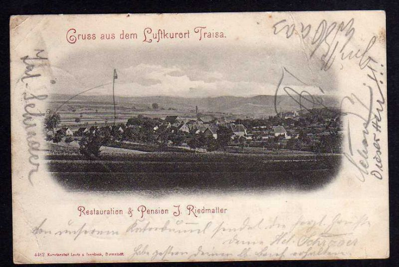 Ansichtskarte Traisa Restauration und Pension Riedmatter 1898 Bahnpost