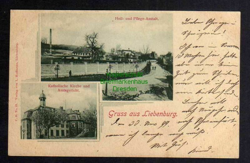 Ansichtskarte Liebenburg 1899 Heil- und Pflegeantalt Kath. Kirche Amtsgericht