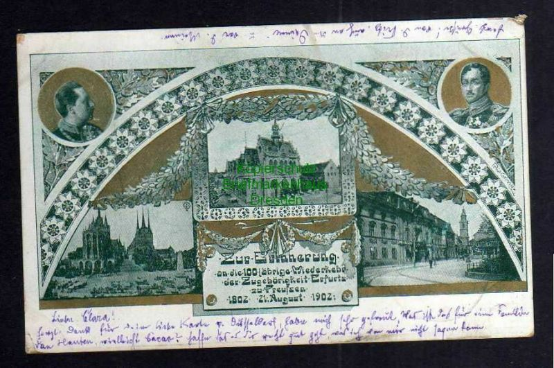 Ansichtskarte Erfurt 1902 Zur Erinnerung an die 100 jährige Wiederkehr der Zugehörig