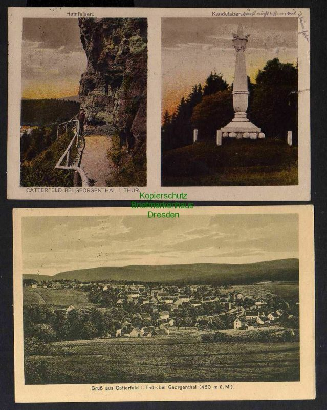 2 Ansichtskarte Catterfeld bei Bad Georgenthal Hainfelsen Kandelaber 1923 Panorama