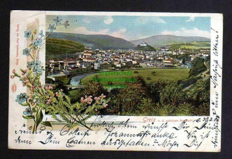 Ansichtskarte Greiz Panorama v. d. schönen Aussicht 1907