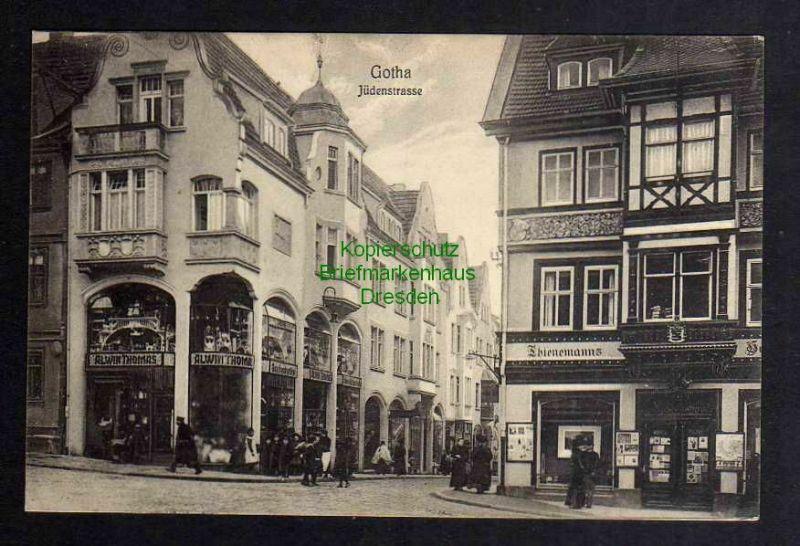 Ansichtskarte Gotha 1910 Jüdenstrasse Thienemannhaus Geschäftshaus Alwin Thomas