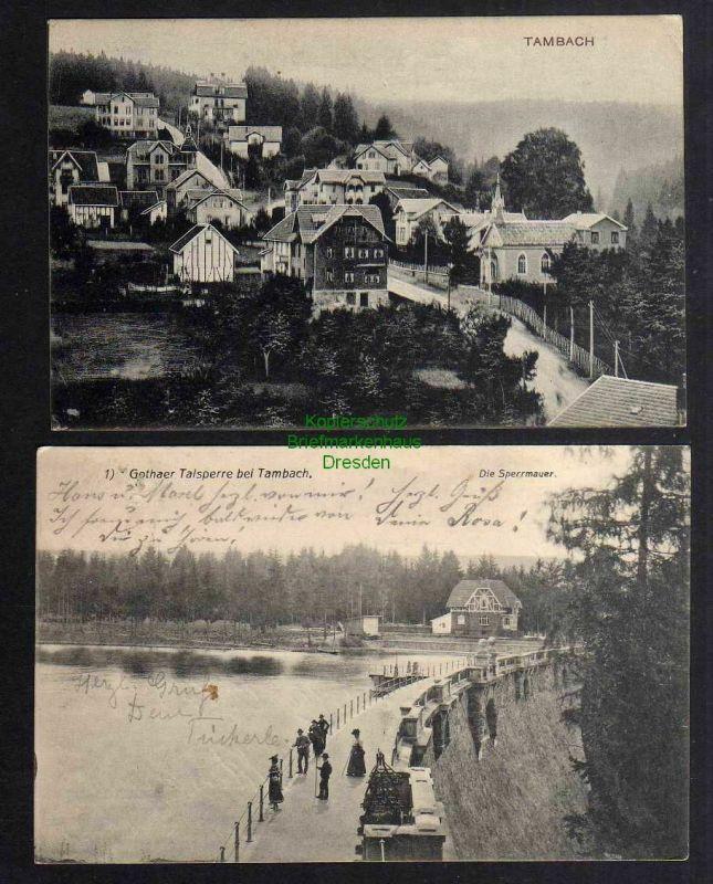 2 Ansichtskarte Tambach 1908 Dorfstraße Gothaer Talsperre Sperrmauer Staumauer