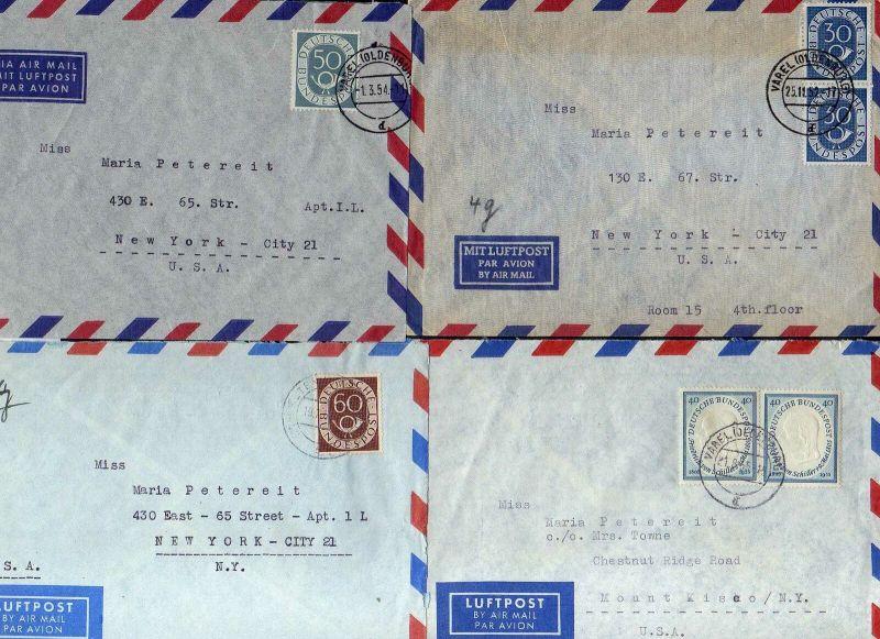 B2615 8x Brief BRD MeF 227 344 343 210 Schiller nach New York USA + Posthorn EF