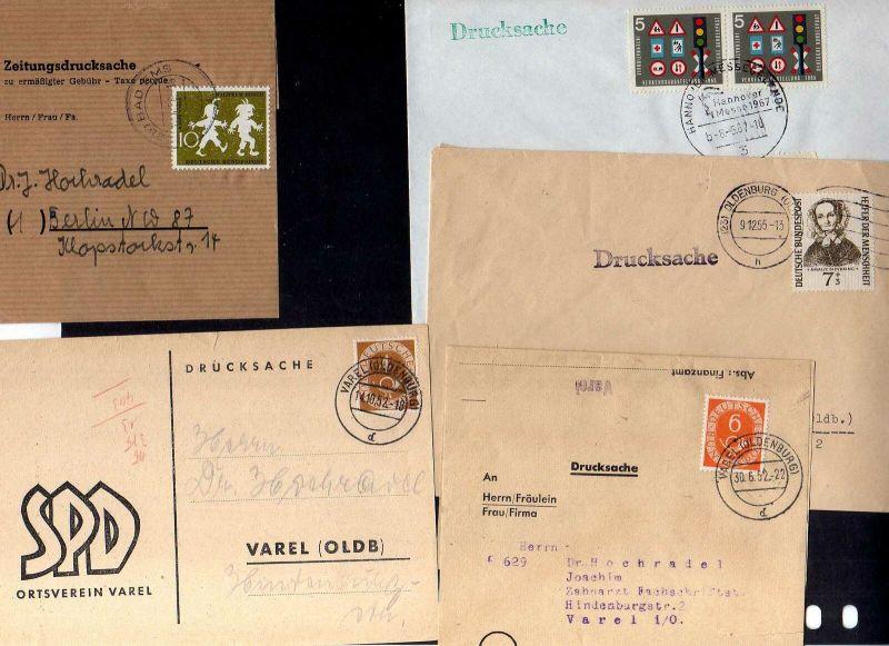 B2616 5x Brief BRD Drucksache Zeitungsdrucksache 281 124 126 222