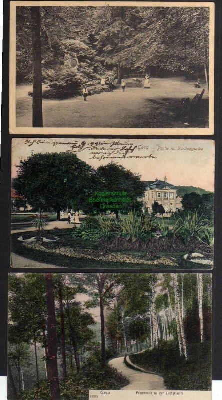 3 Ansichtskarte Gera 1905 Fuchsklamm Küchengarten Bismarckstein 1910