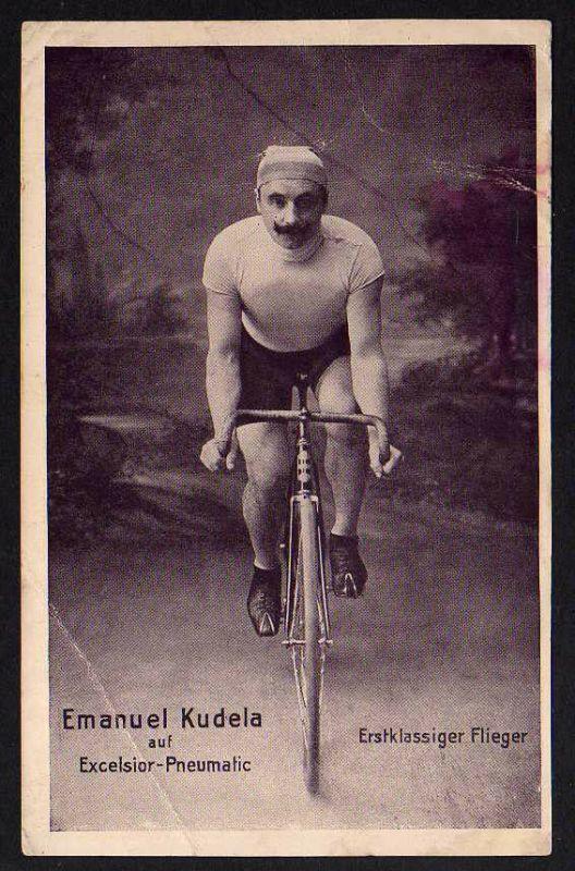 Ansichtskarte Excelsior Pneumatic Gloria Fahrrad 1913 Emanuel Kudela Flieger