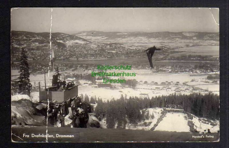 Ansichtskarte Norwegen 1940 Fotokarte Fra Drafnkollen Drammen Skispringer Schanze