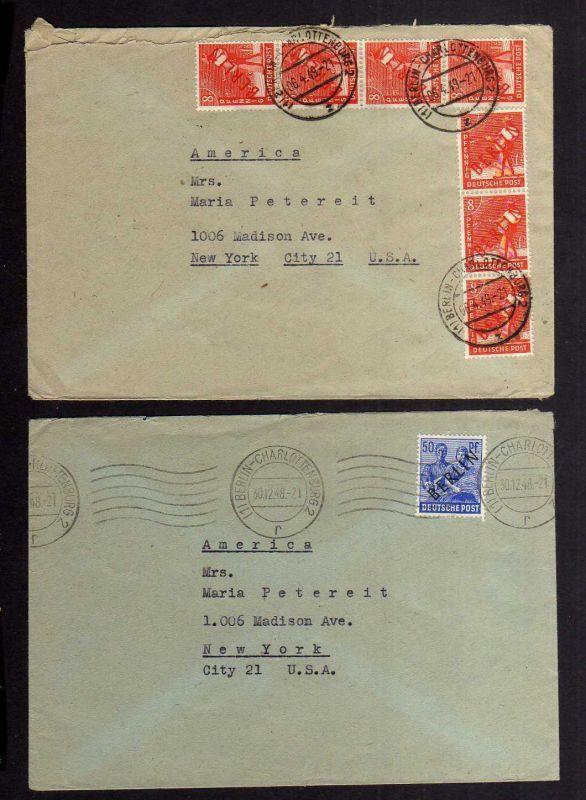 B2613 2x Brief Berlin Westberlin 13 EF 23 MeF 1948 Schwarzaufdruck Rotaufdruck