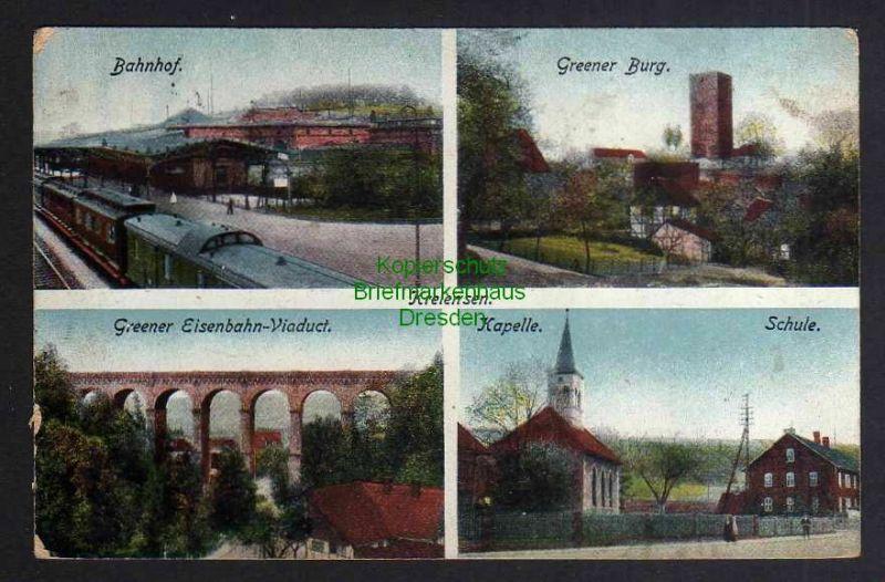 Ansichtskarte Kreiensen 1917 Bahnhof Greener Eisenbahn Viadukt Greener Burg Schule