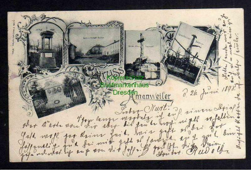 Ansichtskarte Amanvillers Amanweiler 1898 Gastwirtschaft Becker Garde Schützen Bat