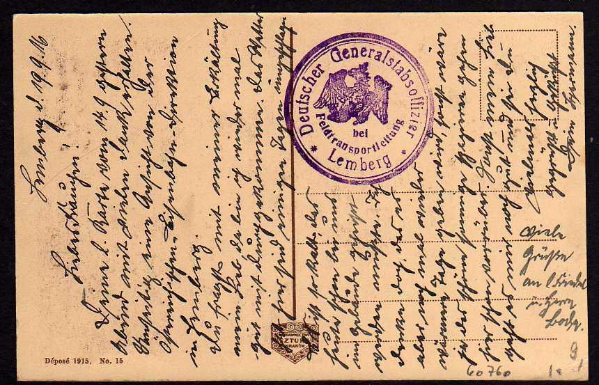 Ansichtskarte Lemberg Staatsbahndirektion Feldtransportleitung 1916 1