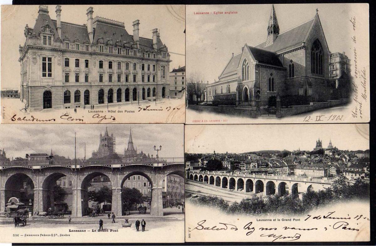 7 Ansichtskarte Lausanne Englische Kirche 1902 Hotel des Postes Les Mousquines