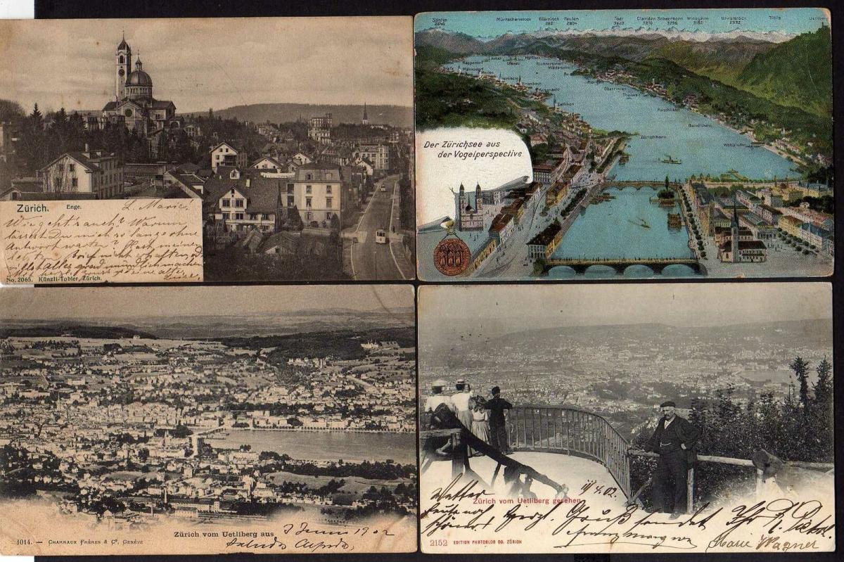 4 Ansichtskarte Zürich 1902 Panorama Enge Kirche 1904