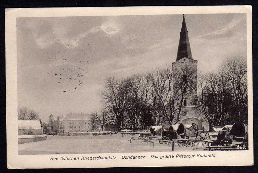 Ansichtskarte Dondangen größtes Rittergut Kurlands 1916 Dundaga Lettland Kurzeme Feld