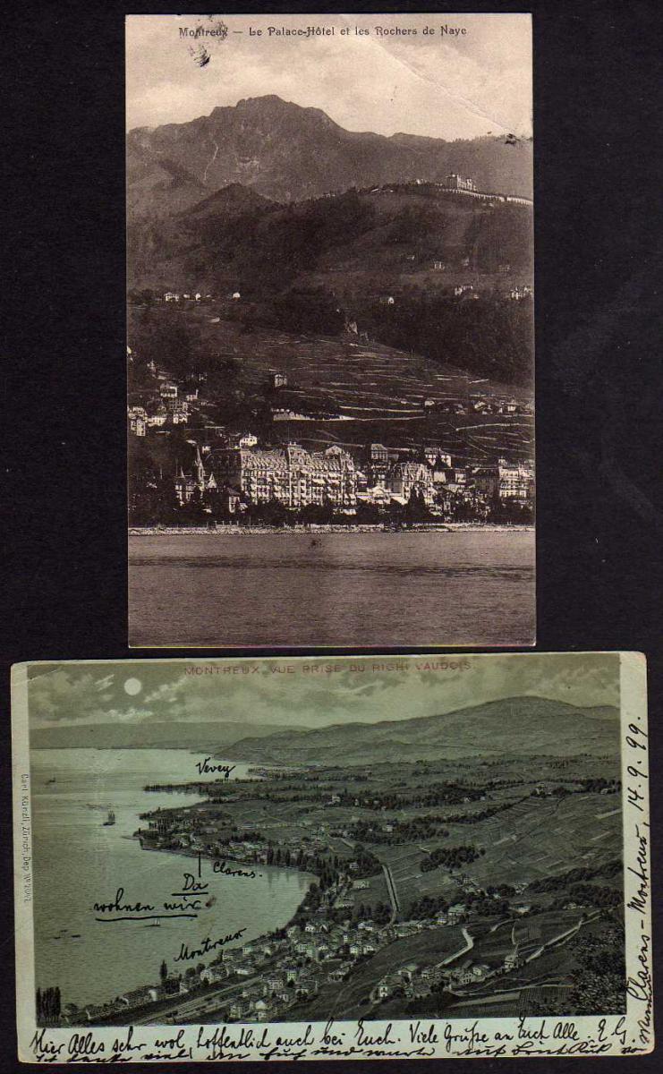 2 Ansichtskarte Montreux Le Palace Hotel et les Rochers Naye 1899