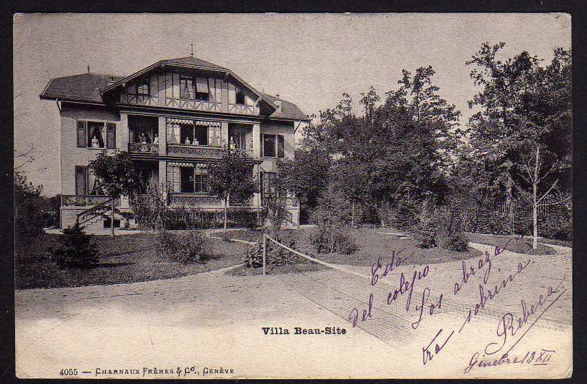 Ansichtskarte Genf Villa Beau-Site Tennis um 1910