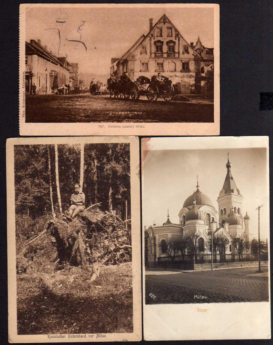 3 Ansichtskarte Mitau 1917 Fotokarte Kirche Feldpost Unterstand Straße Jelgava