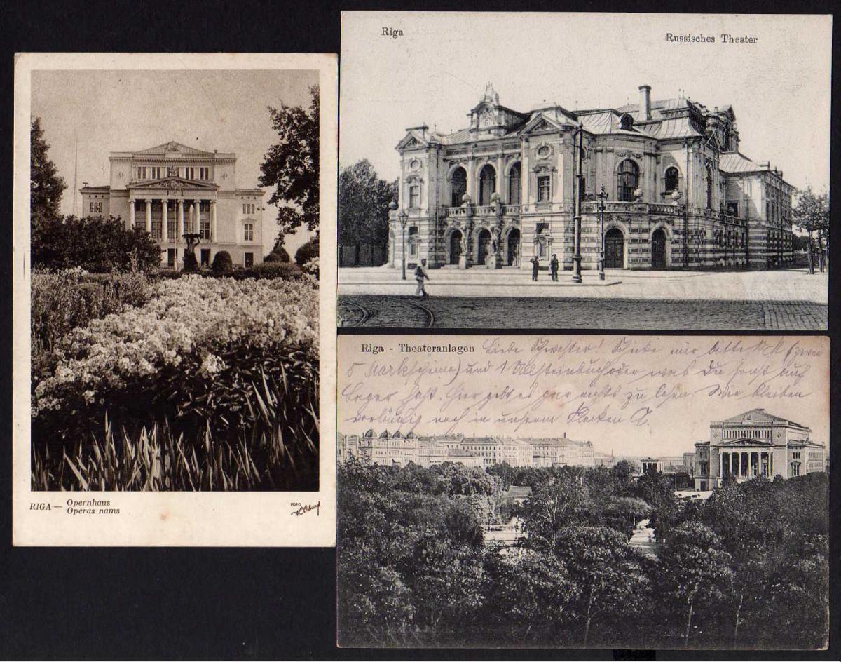 3 Ansichtskarte Riga Russisches Theater Oper  Opernhaus Theateranlagen
