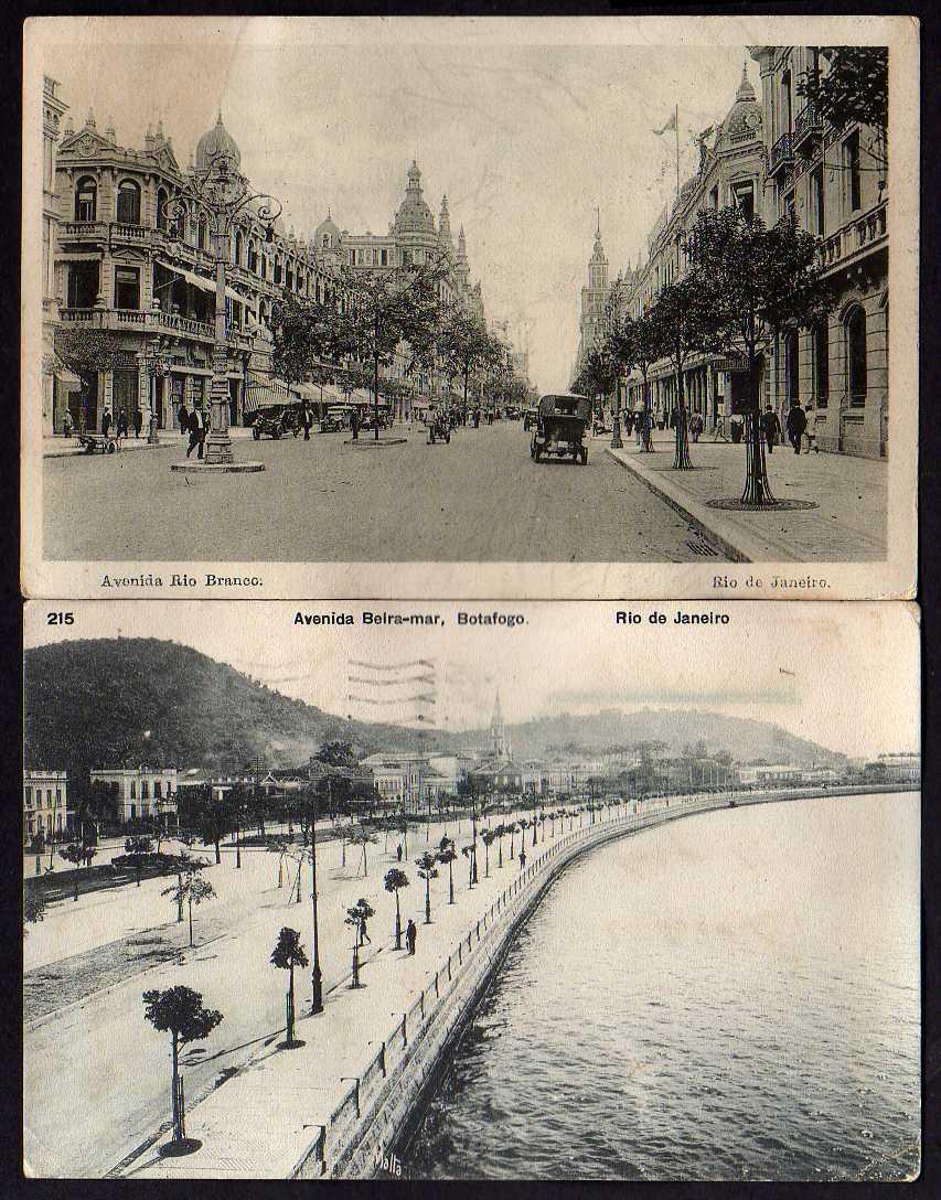 2 Ansichtskarte Rio de Janeiro Avenida Rio Branco Beira-mar Botafogo 1910 1915
