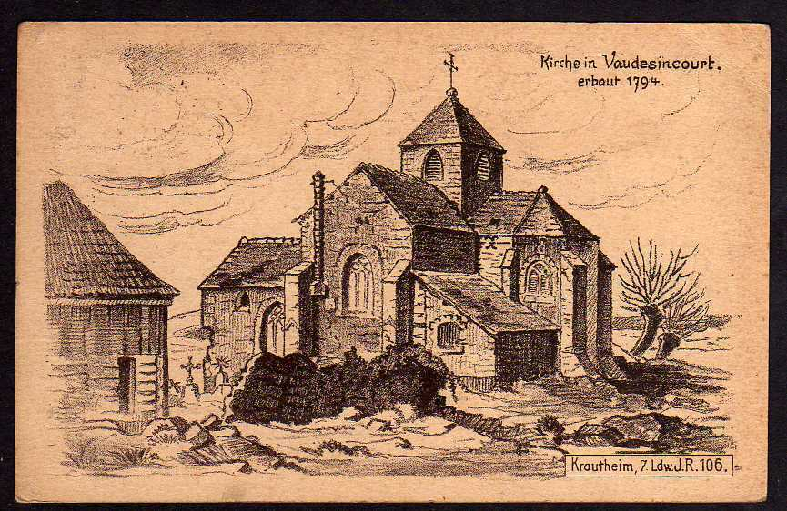 Ansichtskarte Kirche in Vaudesincourt Frankreich 1915 Kriegs Erinnerung 1. Weltkrieg