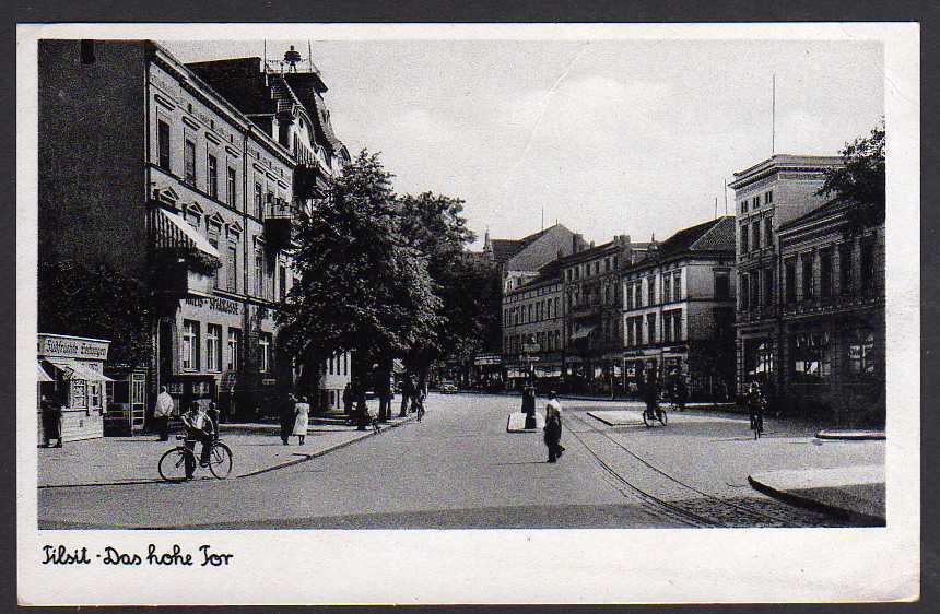 Ansichtskarte Sowetsk Tilsit 1942 Das hohe Tor Sparkasse