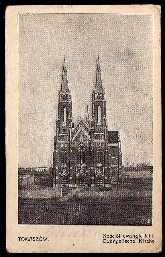 Ansichtskarte Tomaszow Kosciol ewangelicki Feldpost um 1915 Evangelische Kirche