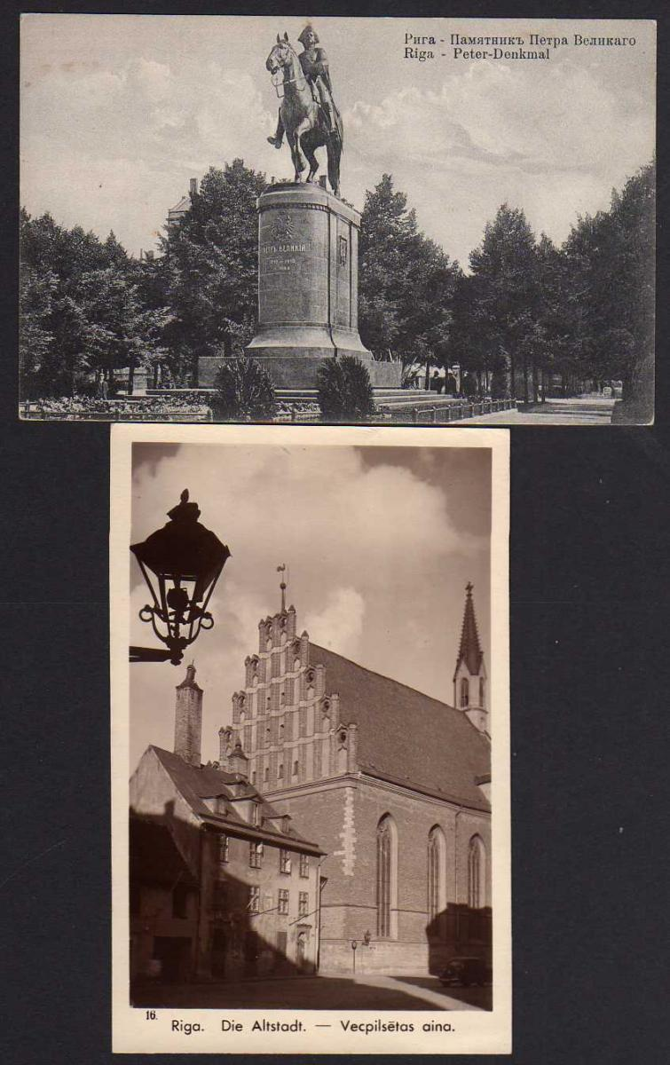 2 Ansichtskarte Riga Lettland Peter Denkmal Kirche Altstadt