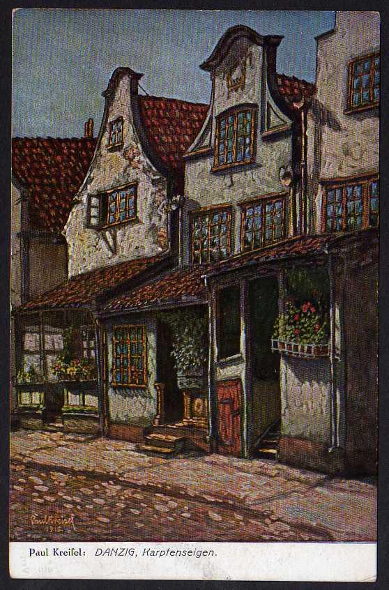 Ansichtskarte Danzig Karpfensteigen 1922 Künstlerkarte Paul Kreisel