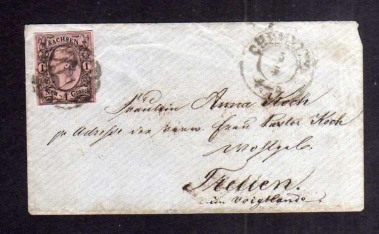 B2637 Sachsen 9 Damenbrief Chemnitz 8 nach Treuen um 1855