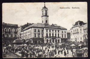 Ansichtskarte Czernowitz Tschernowitz Rathaus Marktplatz Markttag 1917 Feldpost