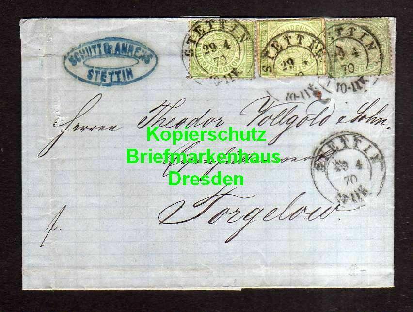 v887 Brief Stettin 1870 Faltbrief nach Torgelow 3x 14 Schütt & Ahrens Aufbrauch