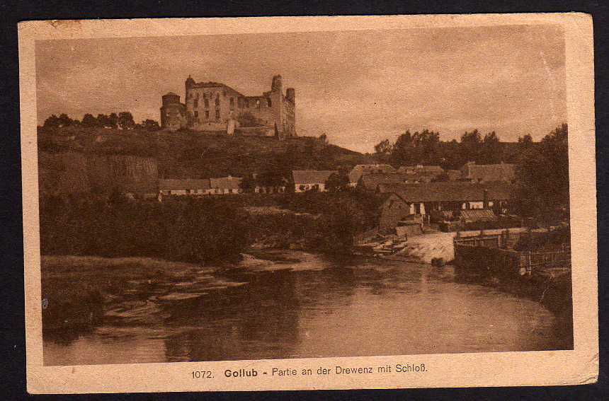 Ansichtskarte Gollub Westpreußen Drewenz mit Schloss Feldpost 1907