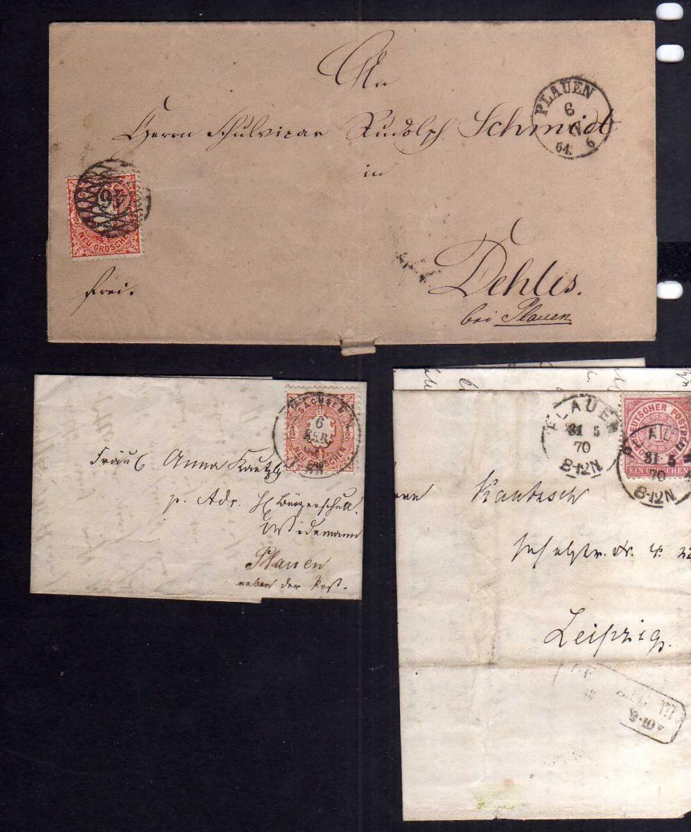 B2639 3x Brief Sachsen Plauen 1864  NDP 1870  kleiner Faltbrief mit Ausgabe
