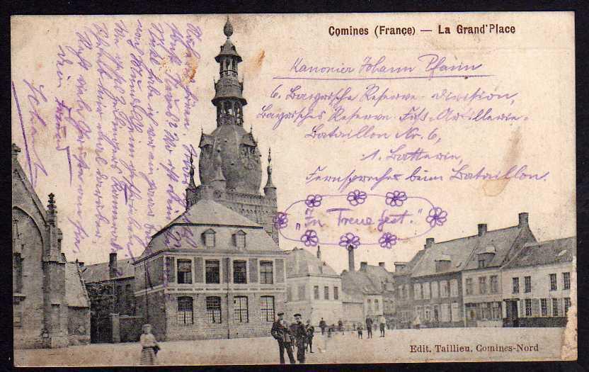 Ansichtskarte Comines Frankreich La Grand Place Markt Kirche Feldpost 1915