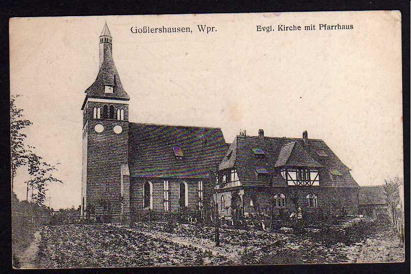 Ansichtskarte Goßlershausen Wpr 1916 Evang. Kirche Pfarrhaus Jablonowo Pomorskie