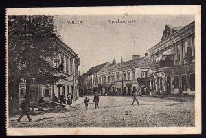 Ansichtskarte Wilna 1916 Trockastraße Feldpost Strassenbaukomp.