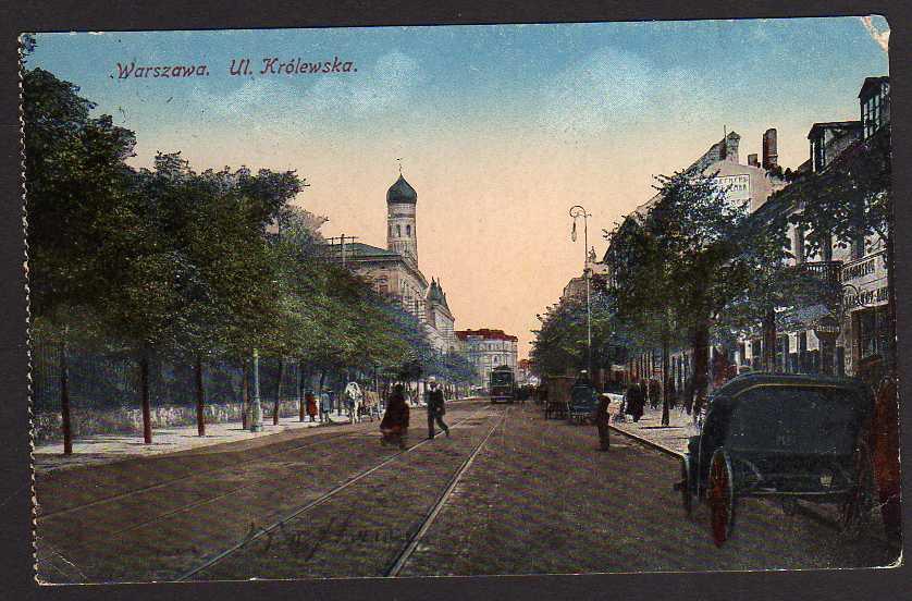Ansichtskarte Warszawa Warschau Ul. Krolewska 1917 Feldpost
