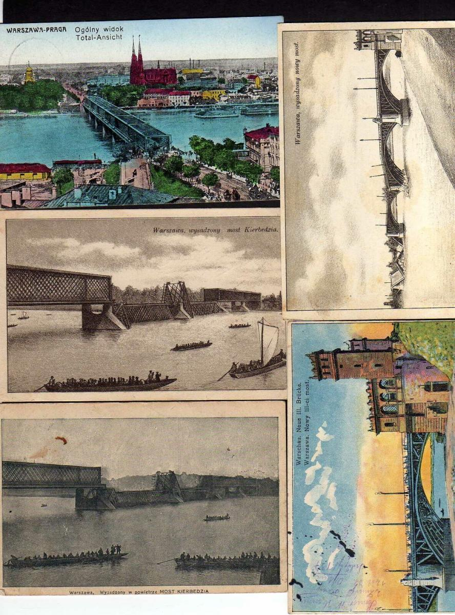 5 Ansichtskarte Warschau Warszawa zerstörte Brücke 1915 most Kierbedzia Feldpost