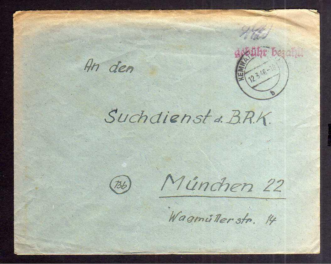 B2023 Brief SBZ Gebühr bezahlt 1946 Kemnath Bayr. Rotes Kreuz Suchkartei