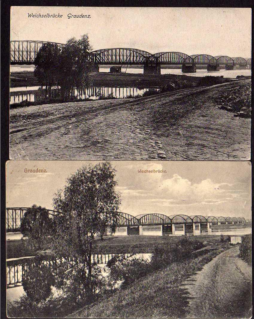 2 Ansichtskarte Graudenz Weichselbrücke Grudziadz 1915 Landsturm