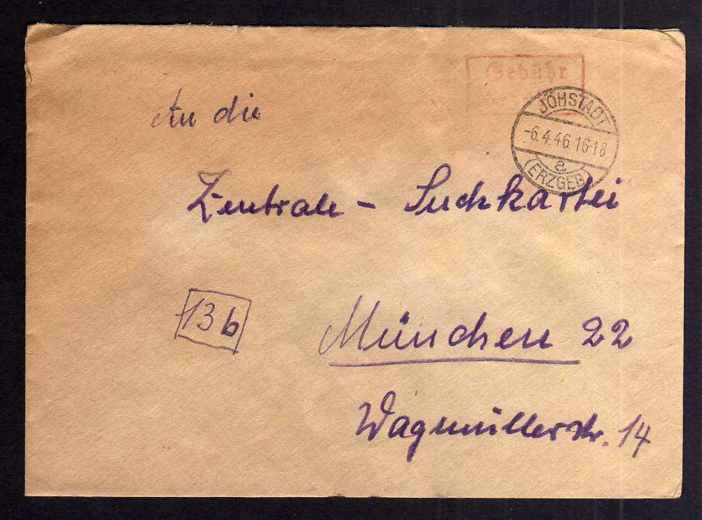 B2022 Brief SBZ Gebühr bezahlt 1946 Jöhstadt Erzgeb. Bayr. Rotes Kreuz München S