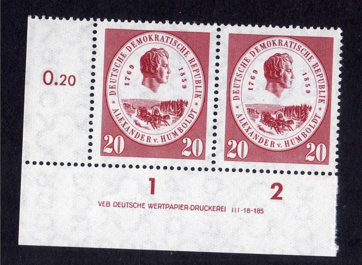 DDR 1959 685 Alexander von Humboldt R 1-2 ** DV ungefalten nicht angetrennt