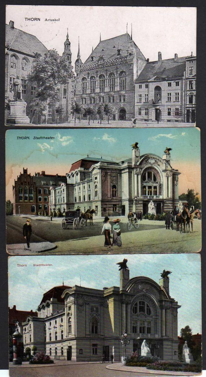 3 Ansichtskarte Thorn Stadttheater Artushof 1914 1915 Feldpost 1916