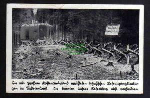 Ansichtskarte Sudetenland Tschechischer Bunker Panzersperre Minen 1939 Sonderstempel