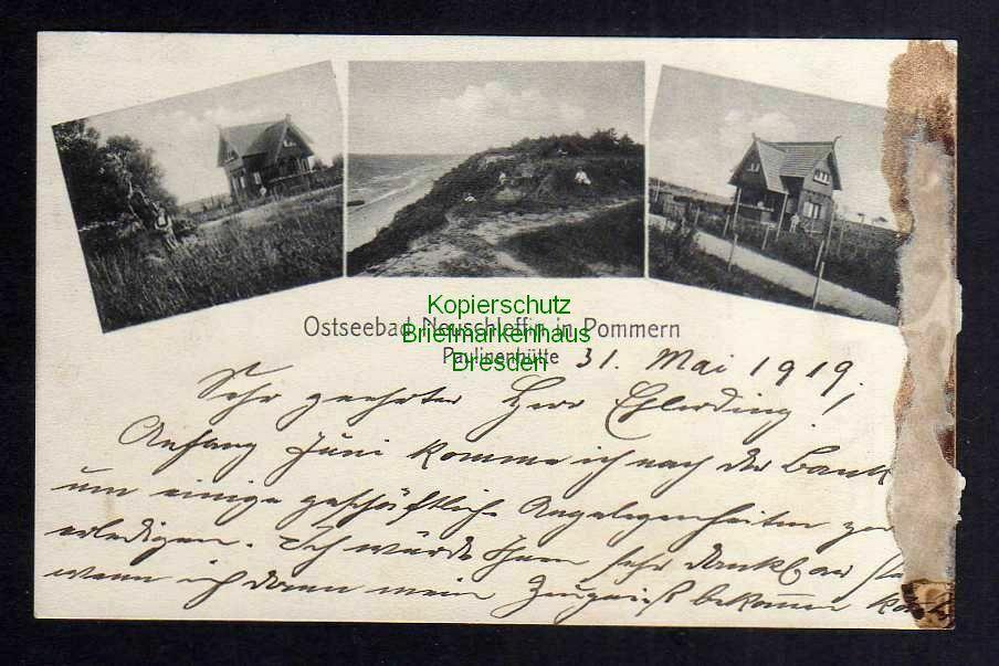 Ansichtskarte Ostseebad Neuschleffin in Pommern Paulinenhütte 1919 Direktor Boese